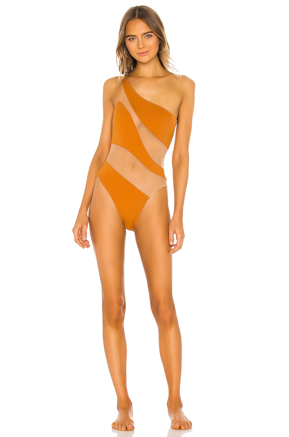 Norma Kamali Snake Mesh Mio One Piece in Bronze