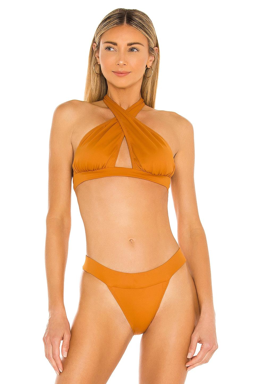 Norma Kamali x REVOLVE Cross Halter Bikini Top in Bronze