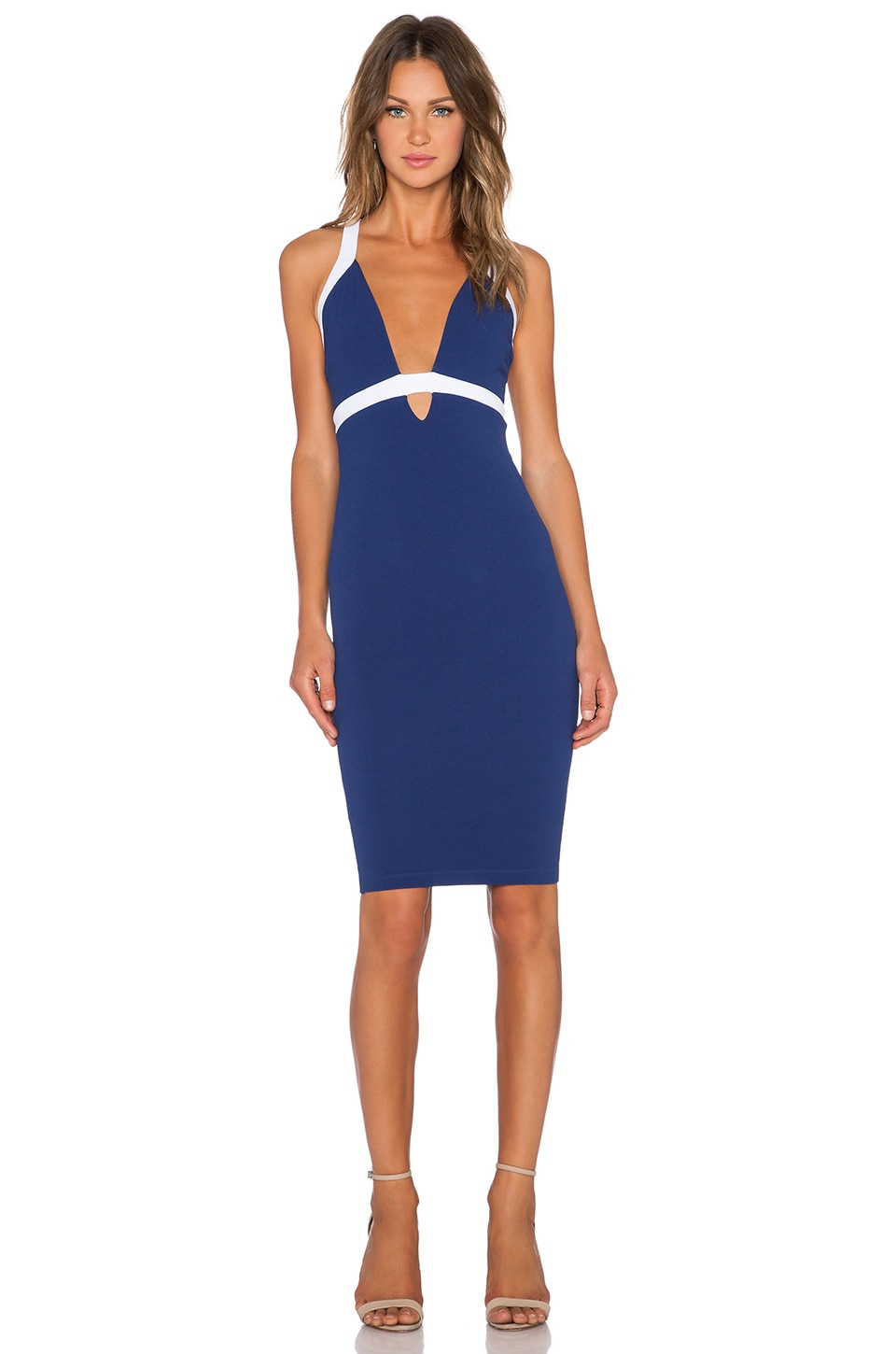 Nookie Eva Bodycon Dress in Navy & White