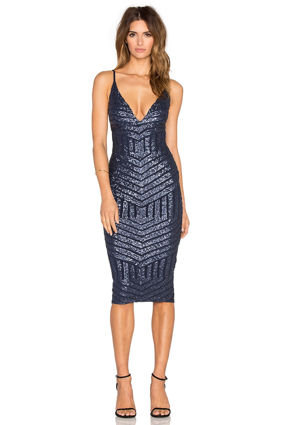 Nookie Starstruck Sequin Slip Dress in Navy Sequin