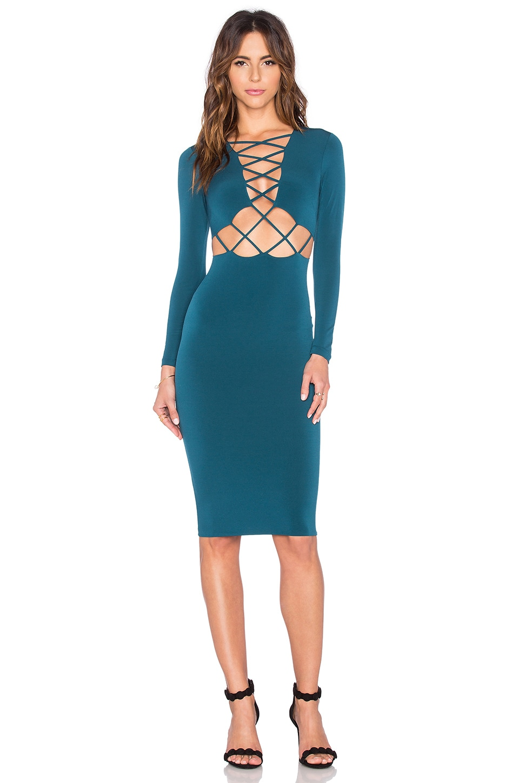Nookie Tropicana Long Sleeve Dress in Petrol