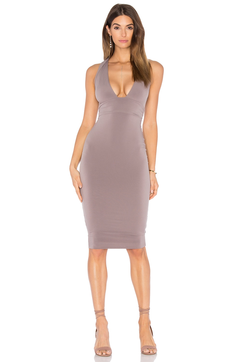 Nookie Cherish Midi Dress in Mocha