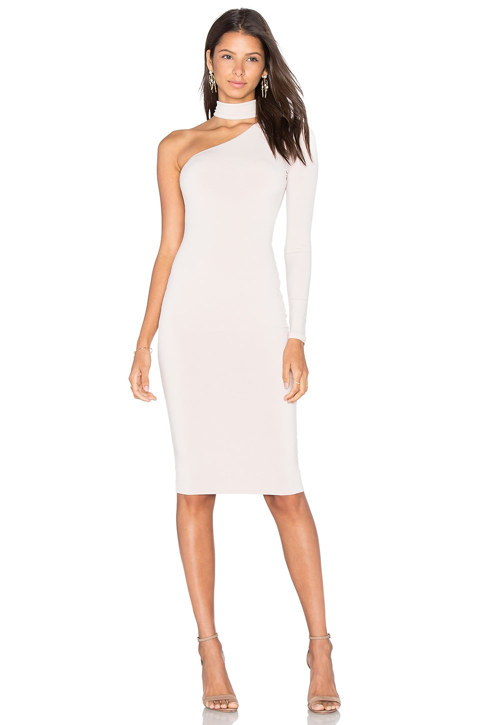Nookie Girl Talk One Shoulder Midi Dress in Nude