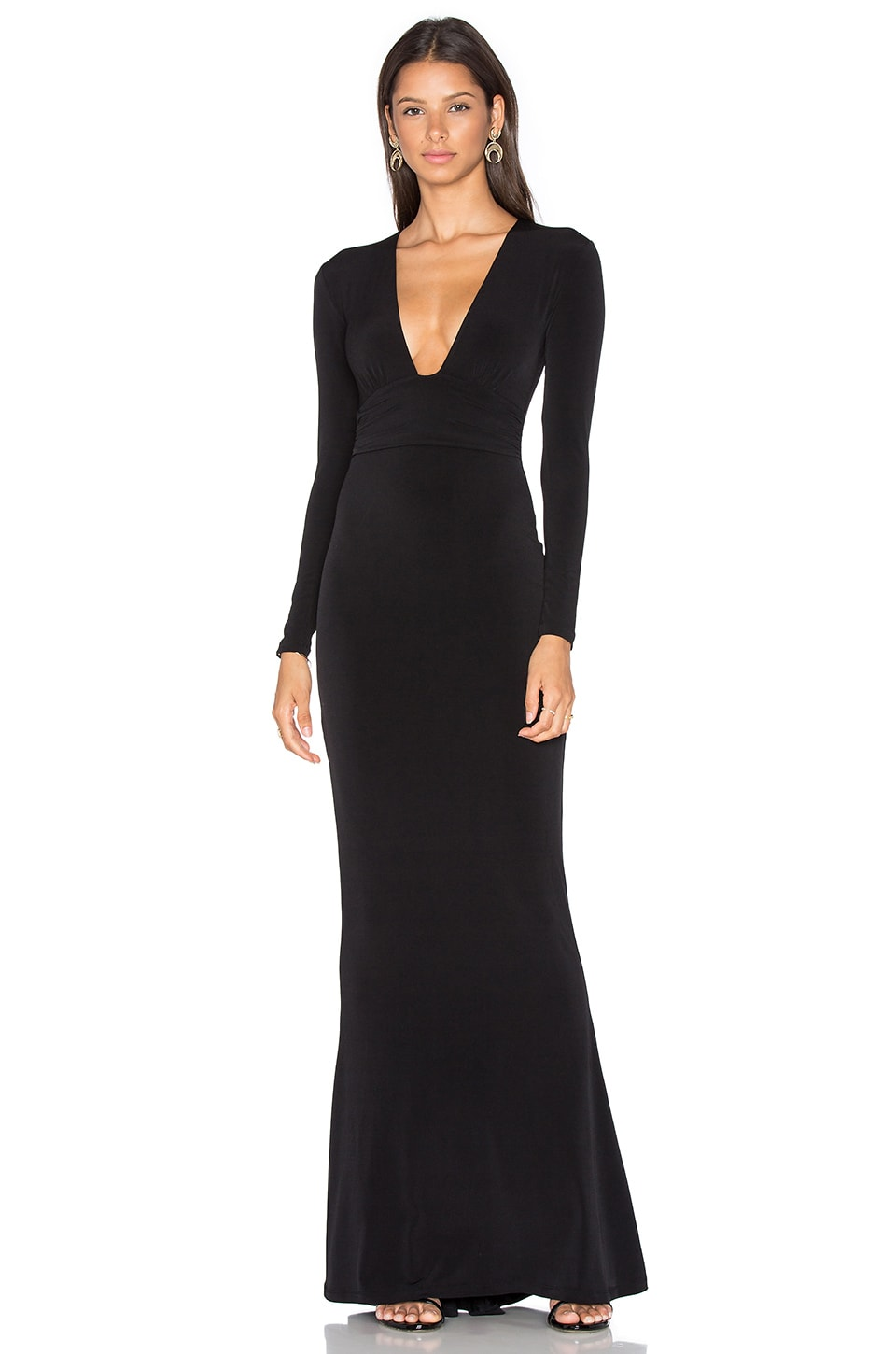 Nookie Cherish Long Sleeve Maxi Dress in Black