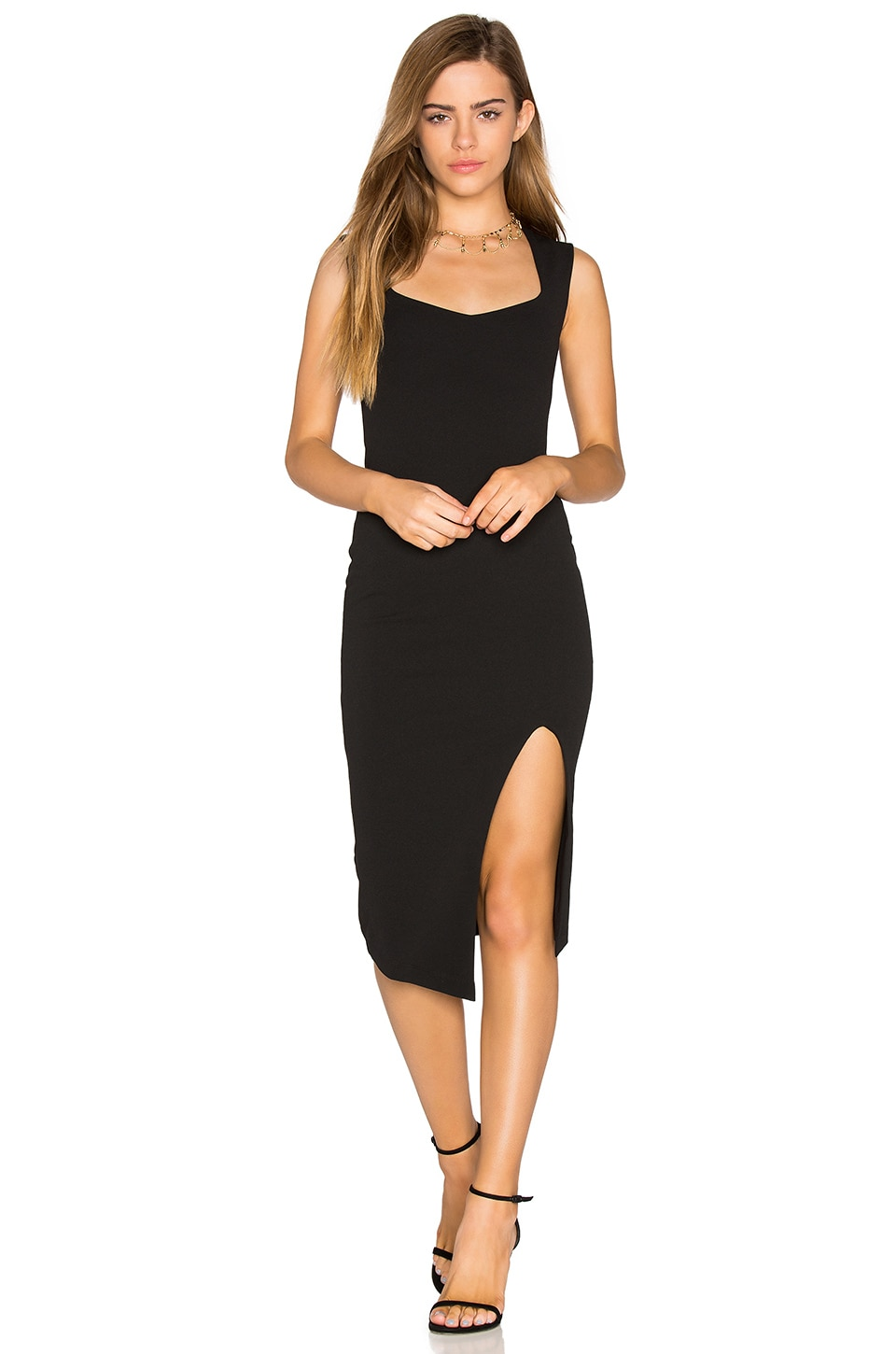 Nookie Captivate Square Neck Midi Dress in Black