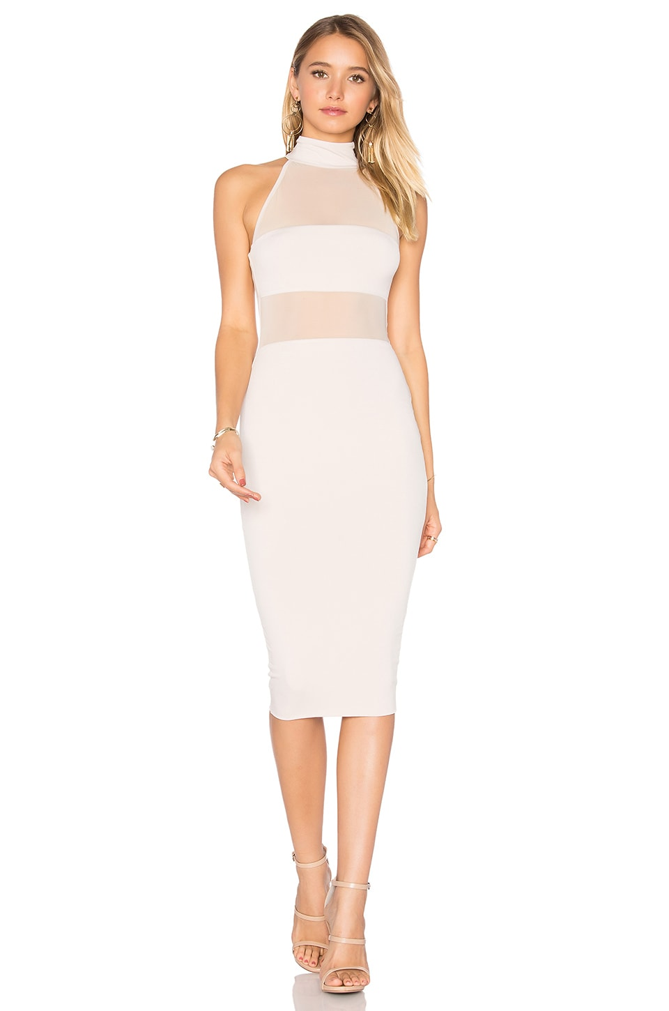 Nookie Princess Mesh Midi Dress in Nude