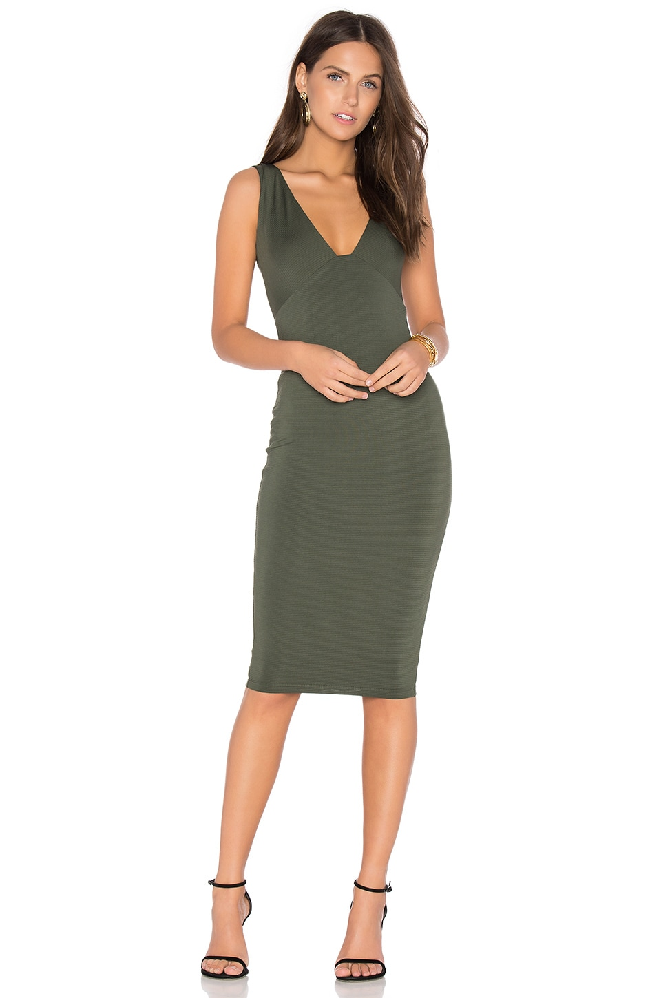 Nookie Muse Midi Dress in Olive