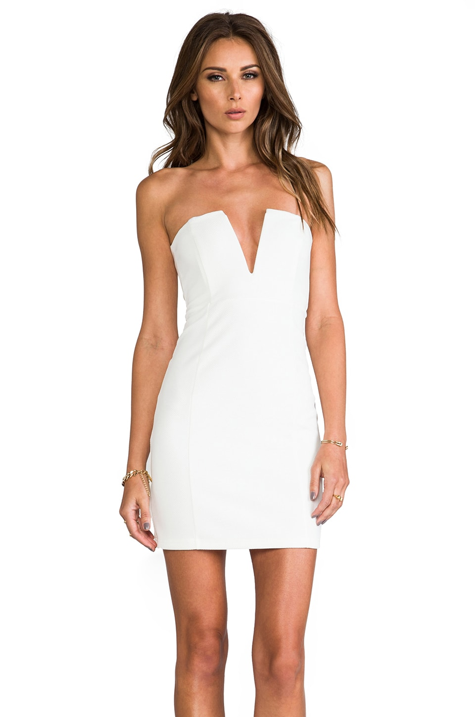 Nookie Rubix V-Front Bustier Dress in White