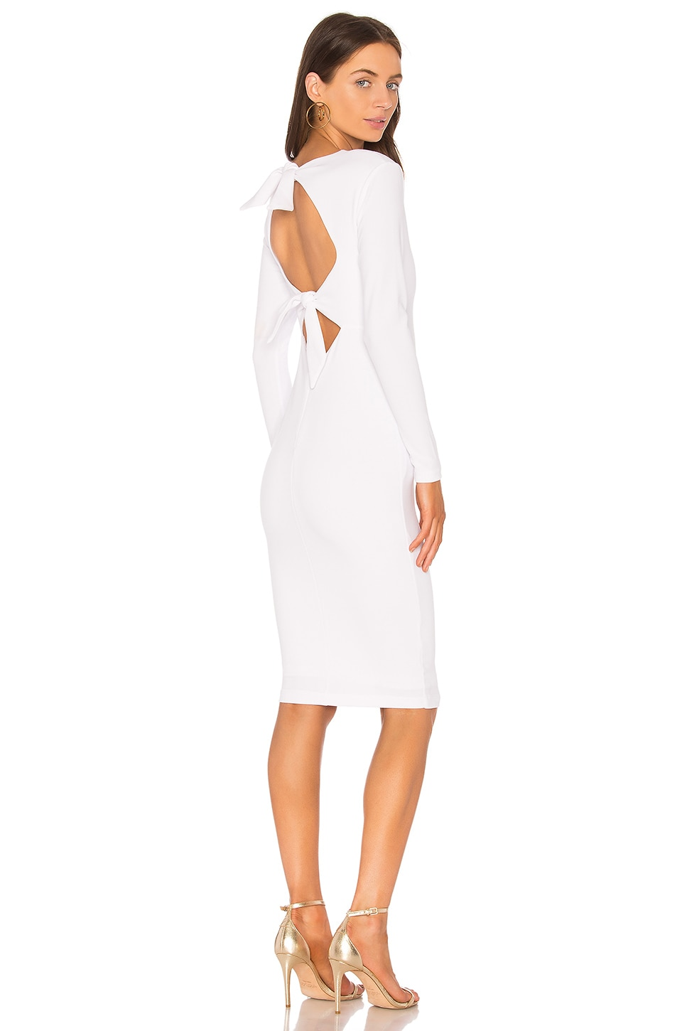 Nookie Cleo Long Sleeve Midi Dress in White