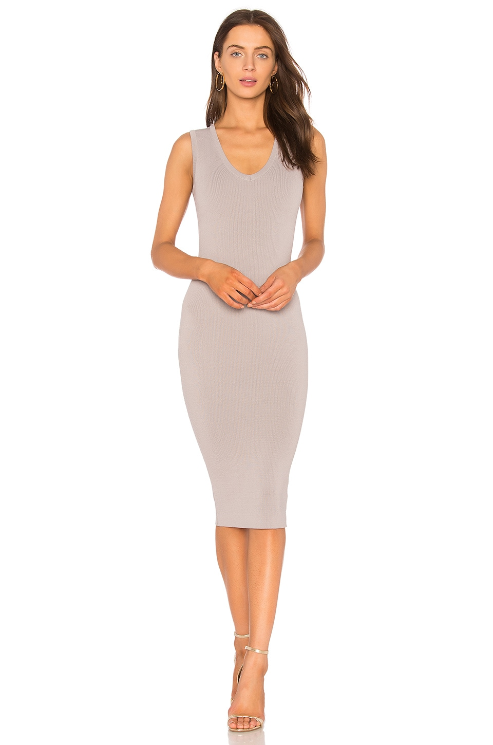 Nookie Maya Knit V Neck Midi Dress in Grey