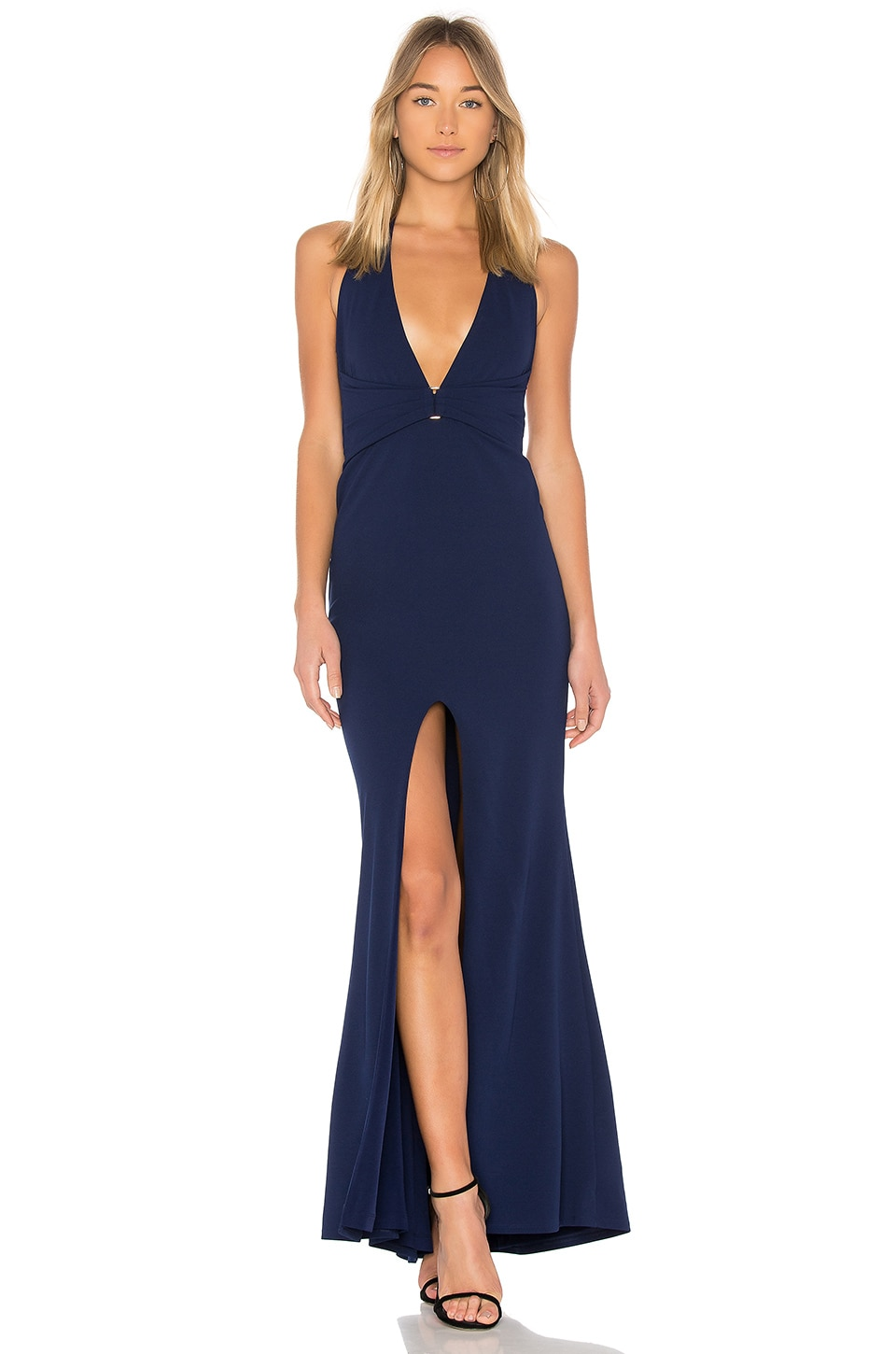 Nookie Mariah Halter Gown in Navy