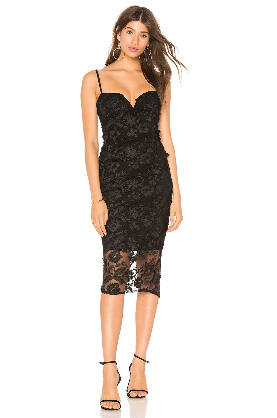 Nookie Lucia Lace Midi Dress in Black