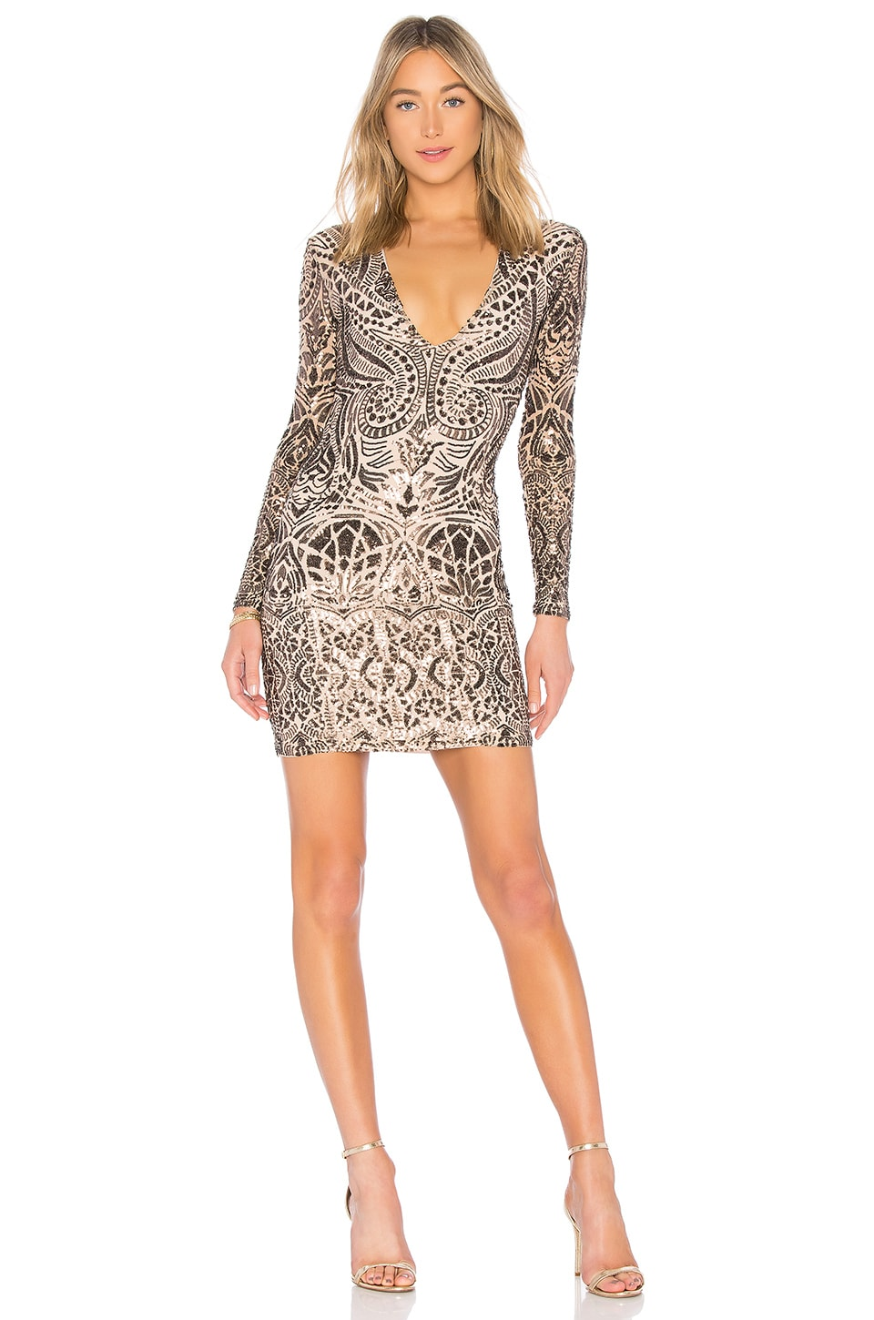 Nookie Shanina Sequin Mini Dress in Bronze