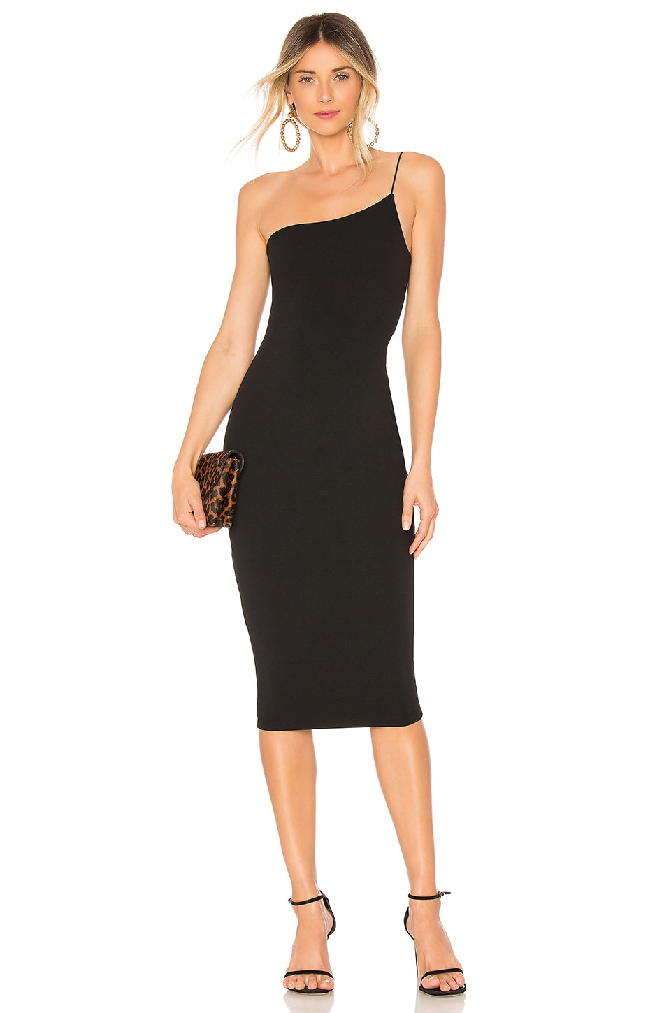 NOOKIE Penelope One-Shoulder Midi Dress in Black