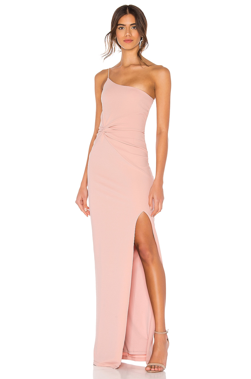 Nookie Lust One Shoulder Gown in Blush