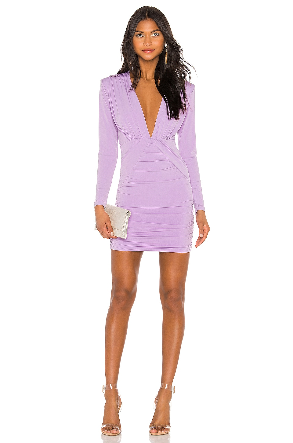 Nookie Temptation Long Sleeve Mini Dress in Lilac