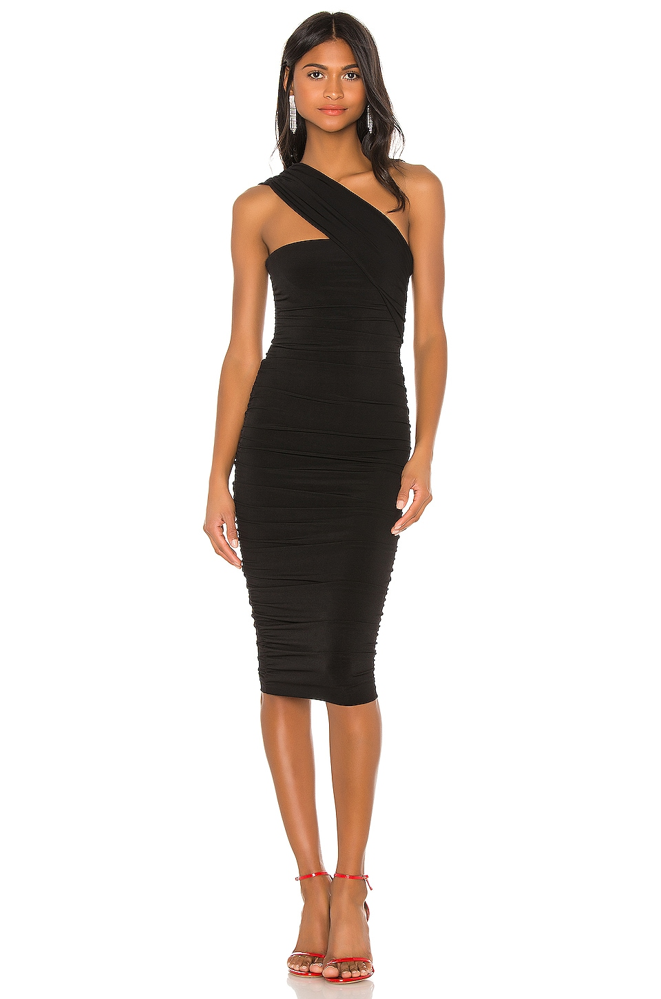 Nookie Temptation One Shoulder Midi in Black