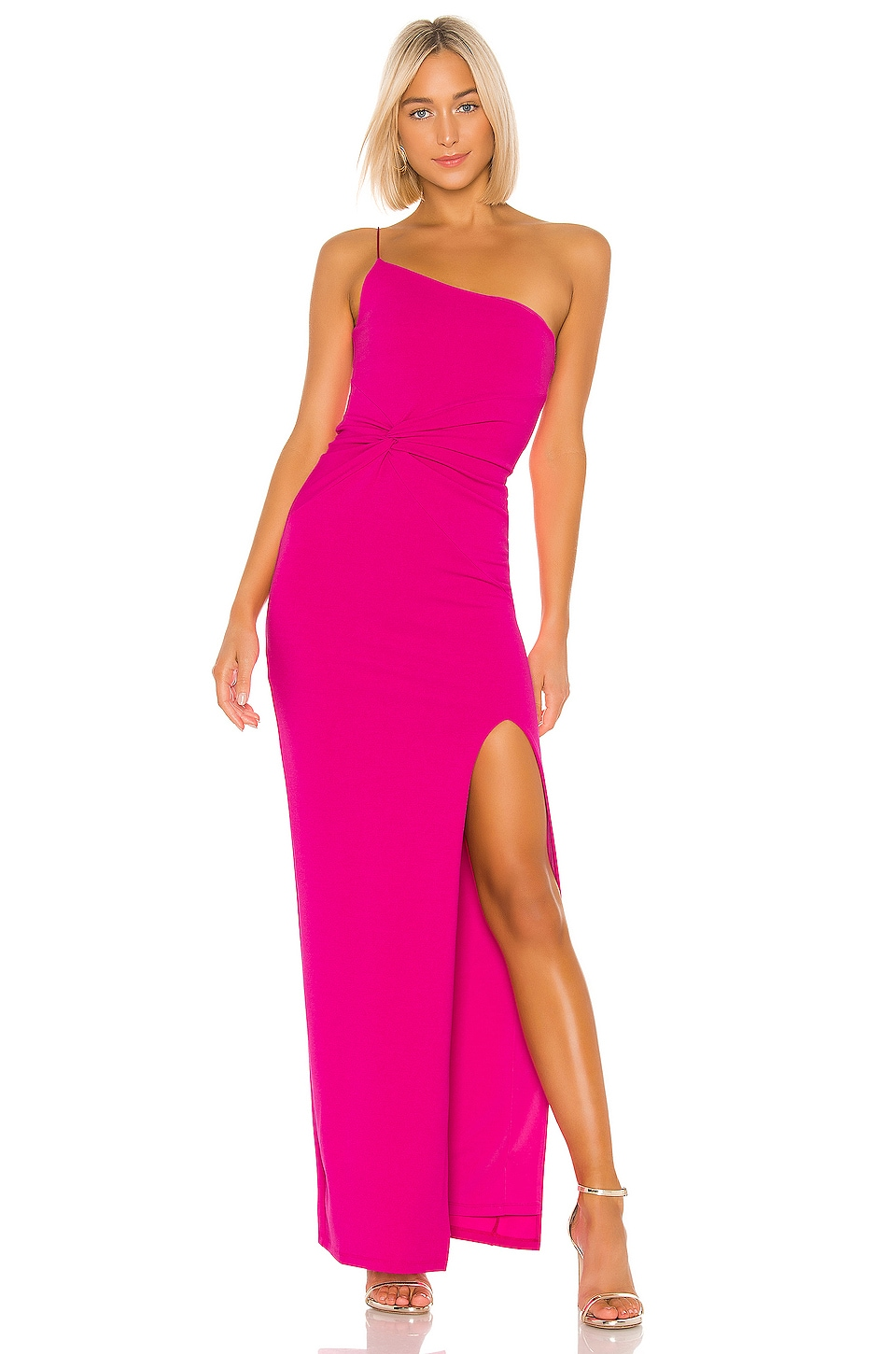 Nookie Lust One Shoulder Gown in Neon Pink