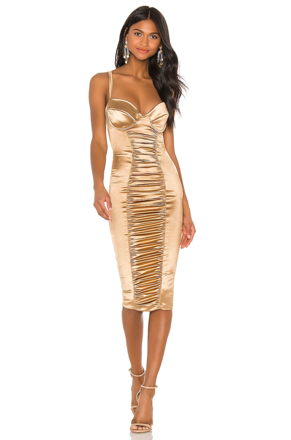 Nookie Tease Satin Midi Dress in Gold