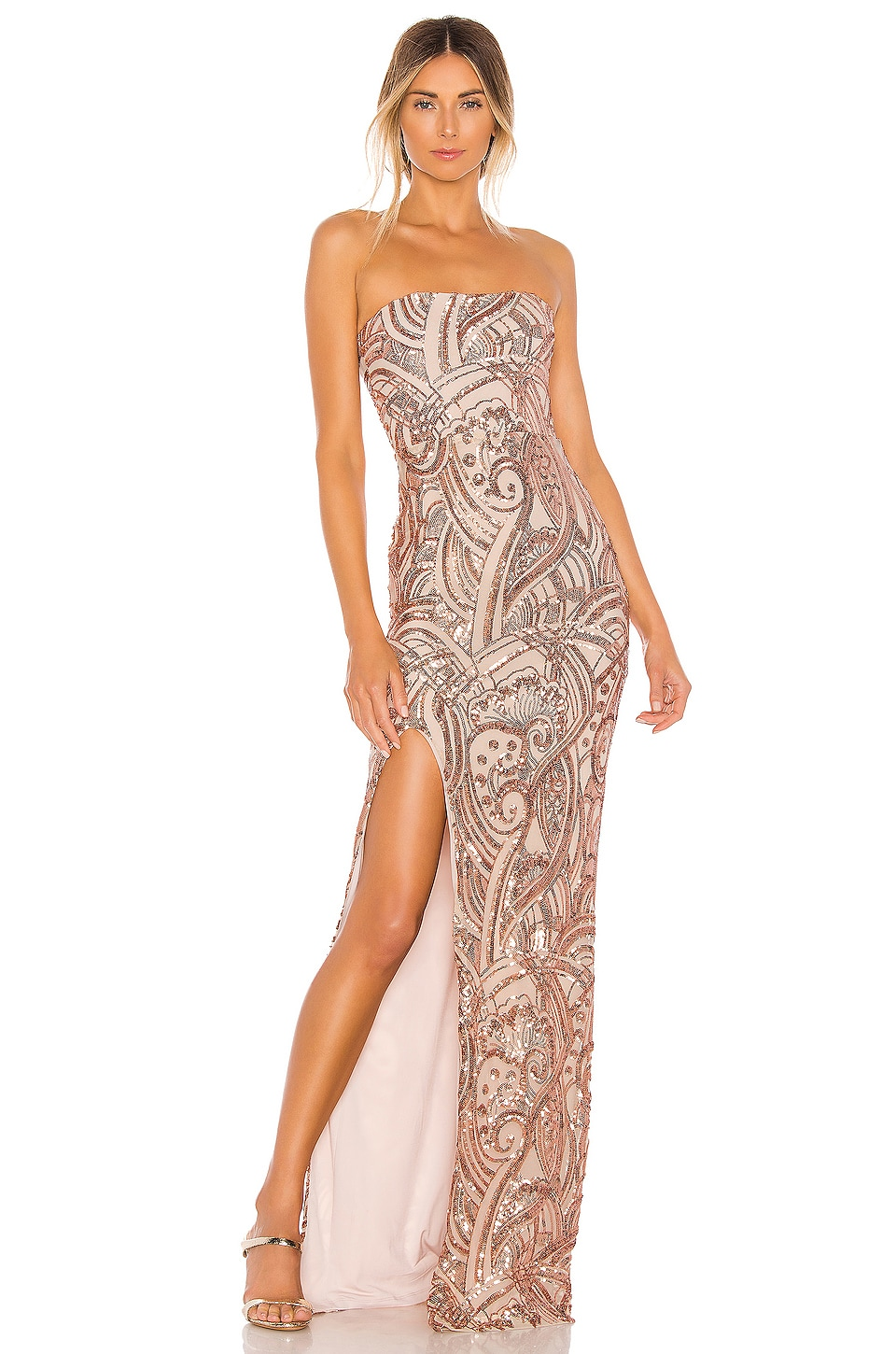 Nookie Sensational Sequin Gown in Rose Gold