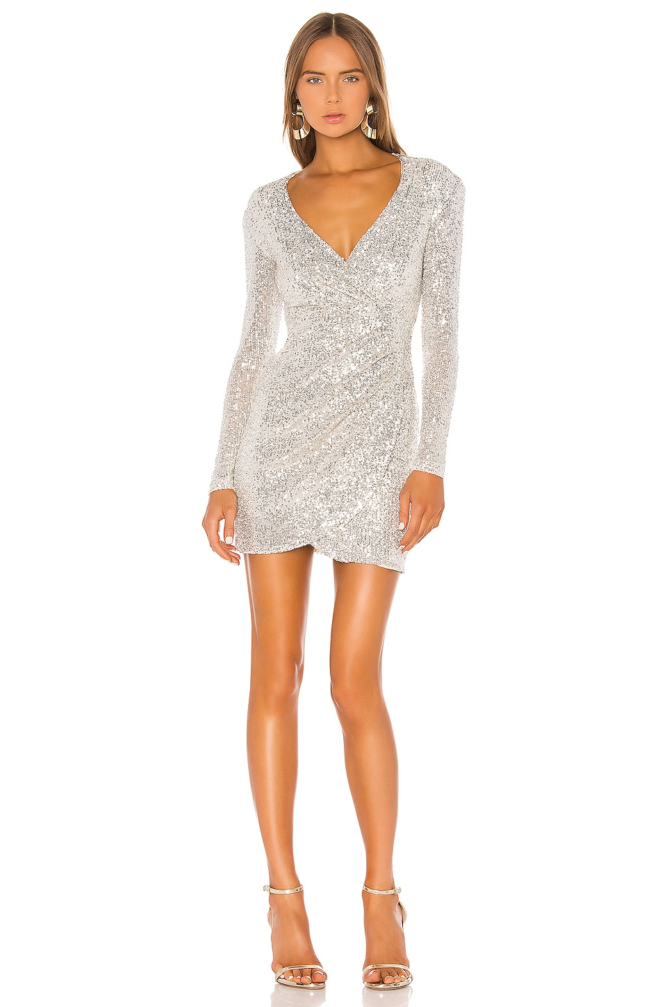 Nookie Fantasy Long Sleeve Mini Dress in Silver