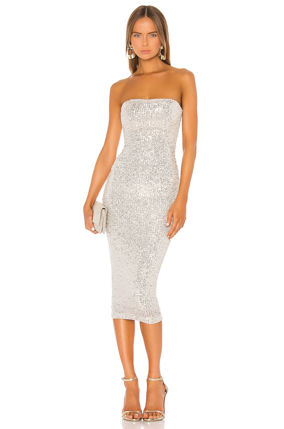 Nookie Fantasy Midi Dress in Silver