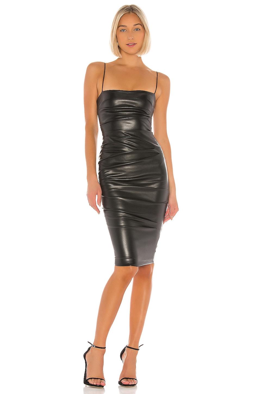 Nookie Posse Faux Leather Midi Dress in Black