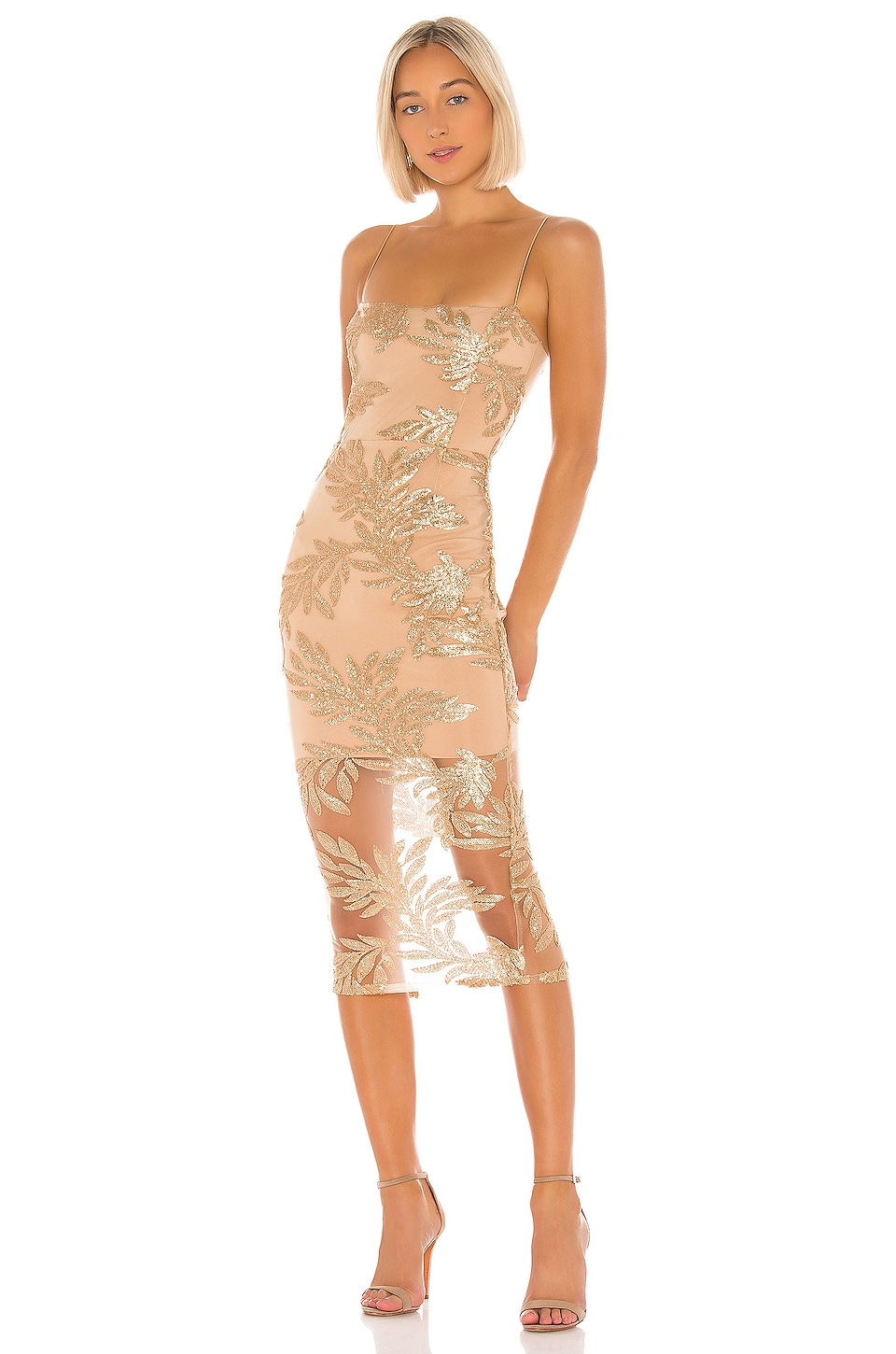 Nookie Vanity Midi Dress in Gold