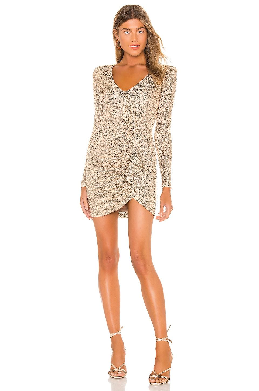 Nookie Galaxy Long Sleeve Mini Dress in Almond