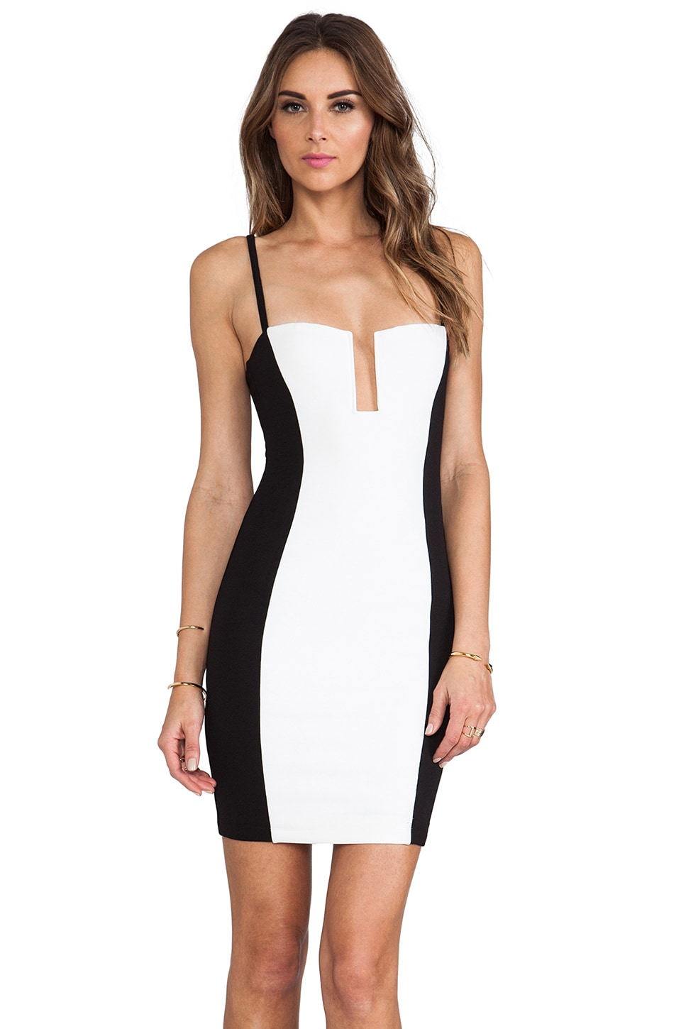 Nookie Top Deck Stadium Bustier Dress in Black/White