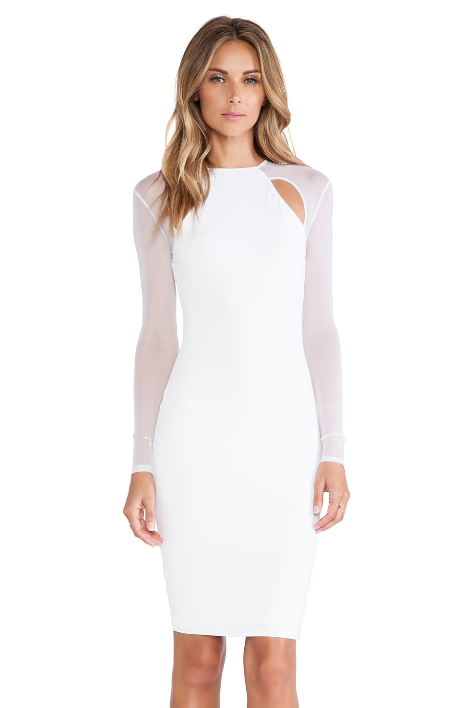 Nookie Stiletto Mesh Long Sleeved Dress in White