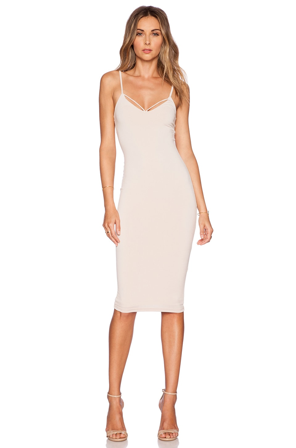 Nookie Mi Amore Backless Shift Dress in Nude | REVOLVE