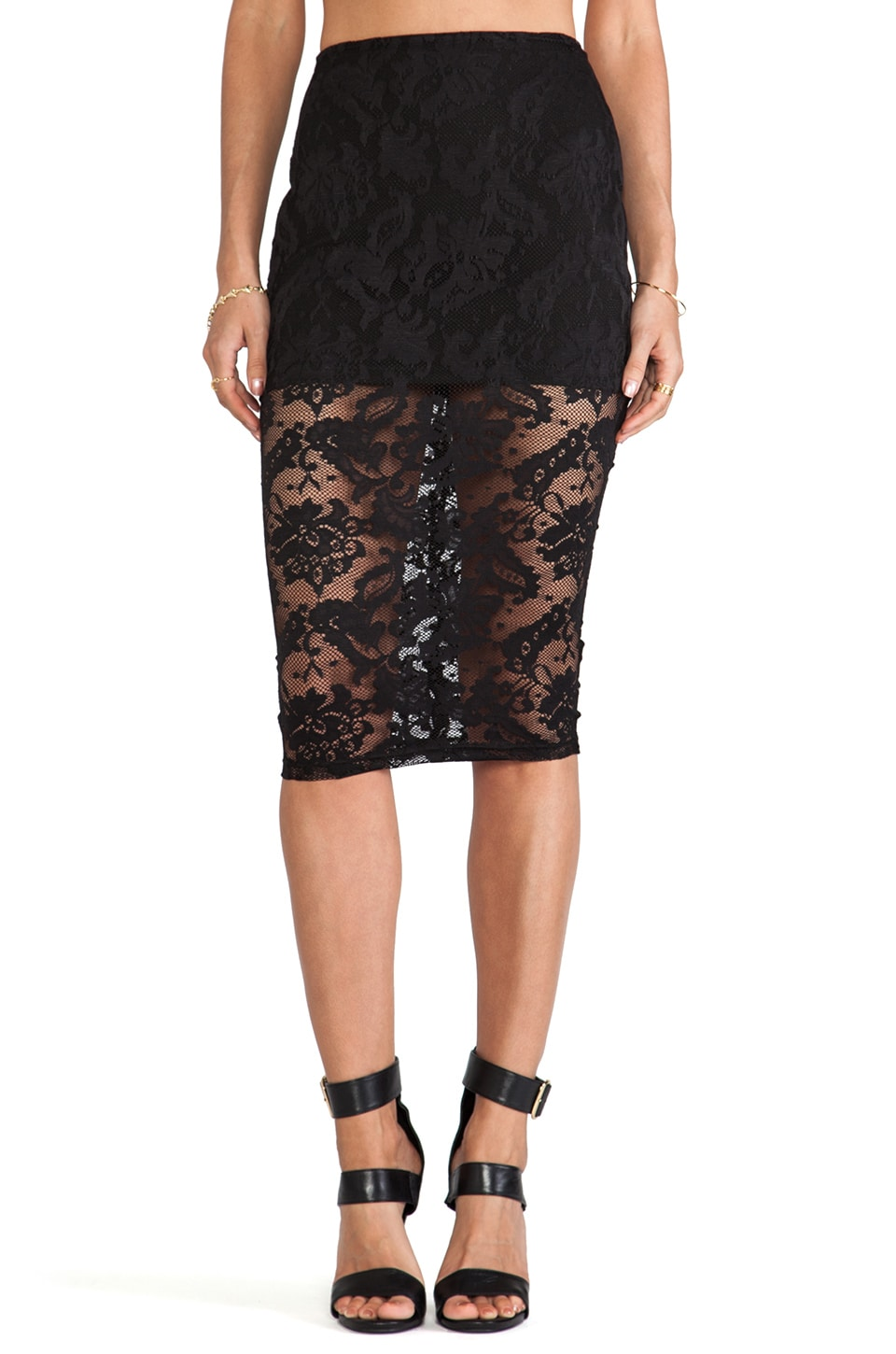 Nookie Renegade Lace Pencil Skirt in Black | REVOLVE