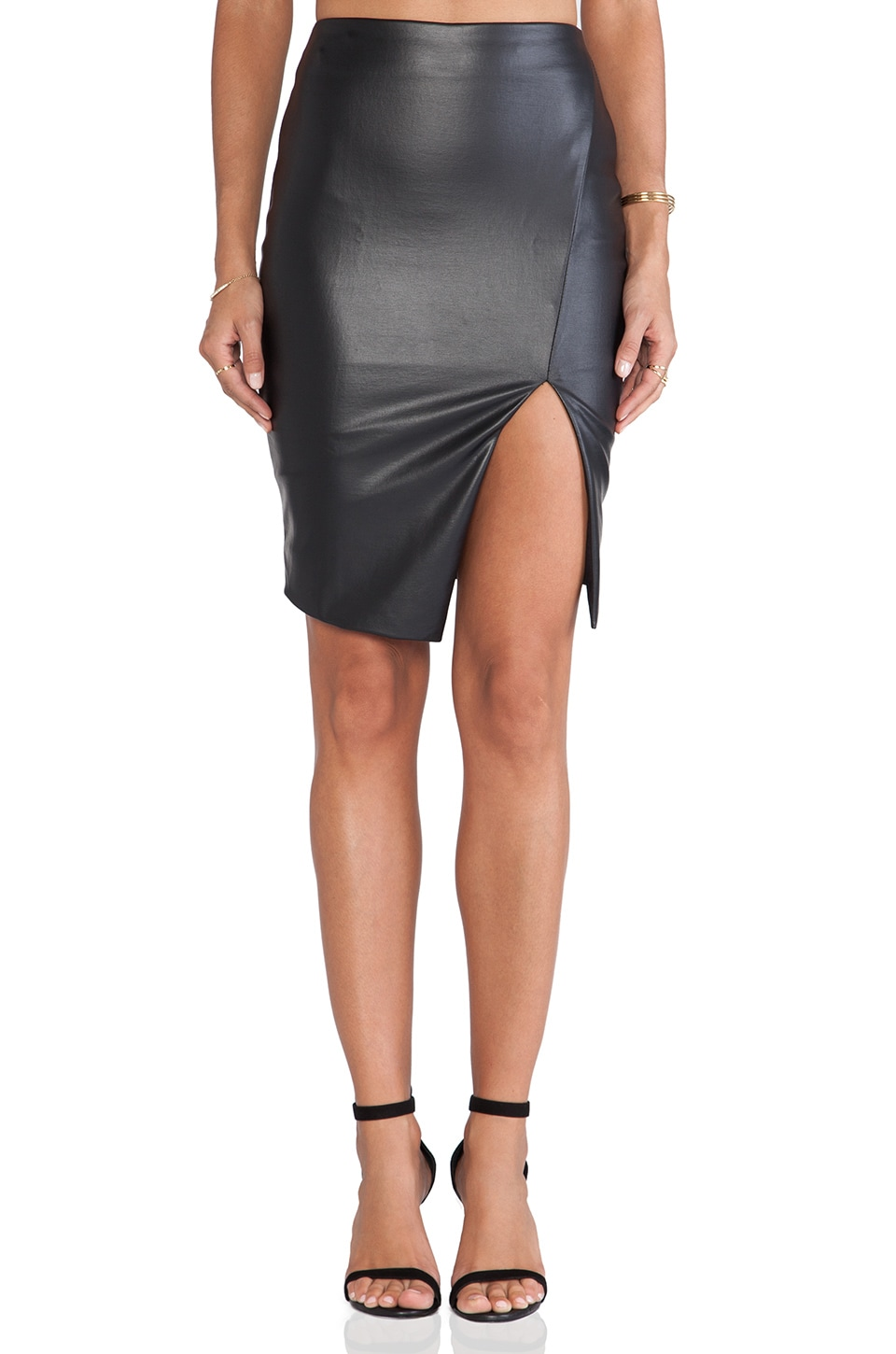 Nookie Black Jack Skirt in Leather Look