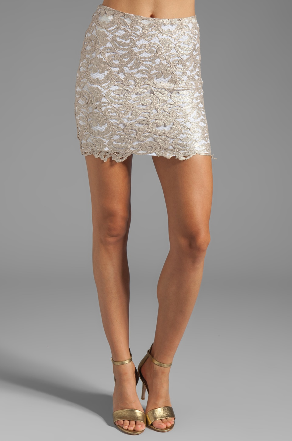 Nookie Lovelace Mini Skirt in Champagne