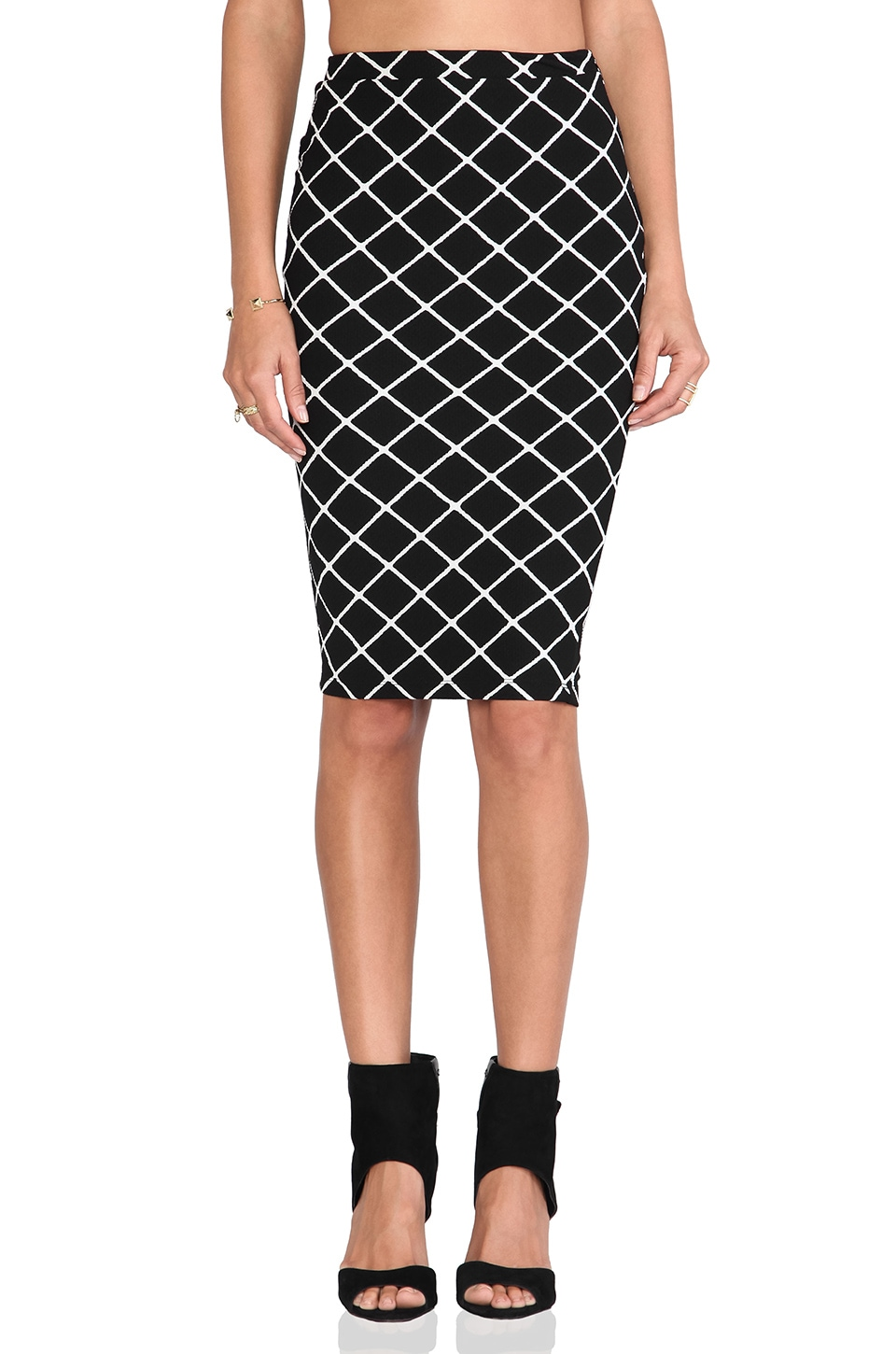 Nookie Bowie Check Pencil Skirt in Black
