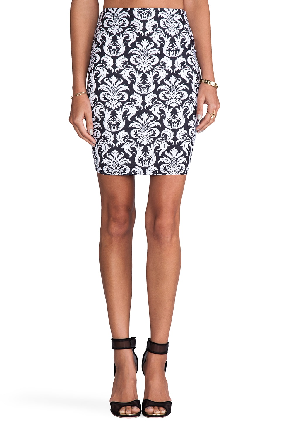 Nookie Baroque Pencil Skirt in Black