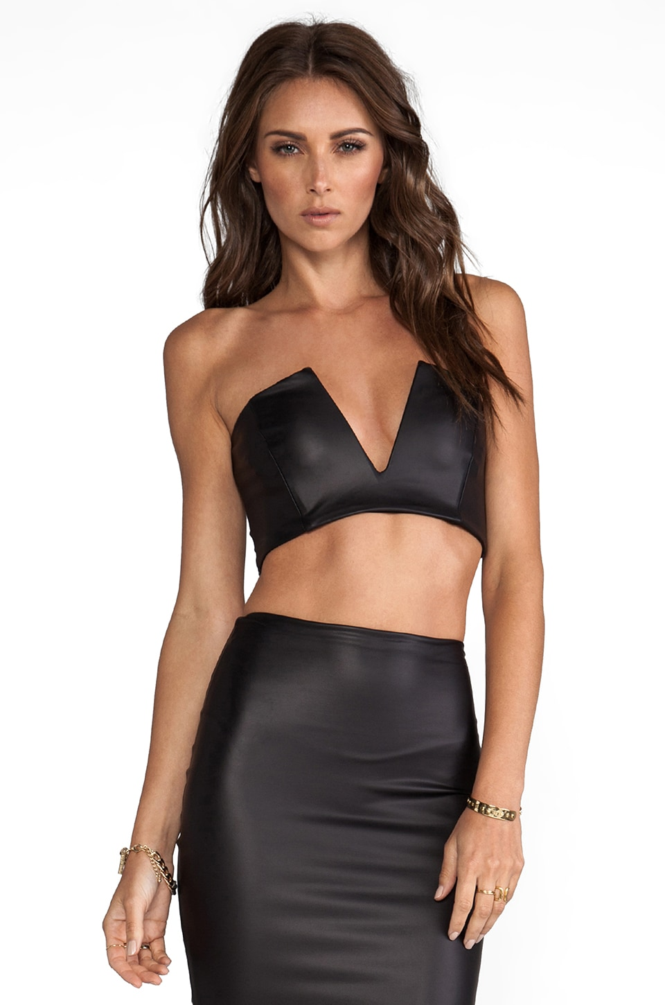 Nookie Easy Rider V-Front Crop Top in Black