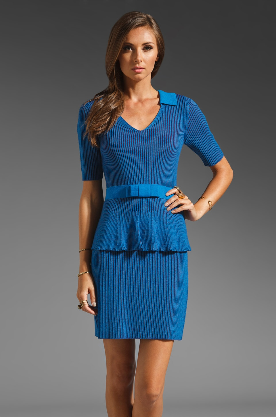 Nanette Lepore The Empress Rib Knit Dress in Cyan