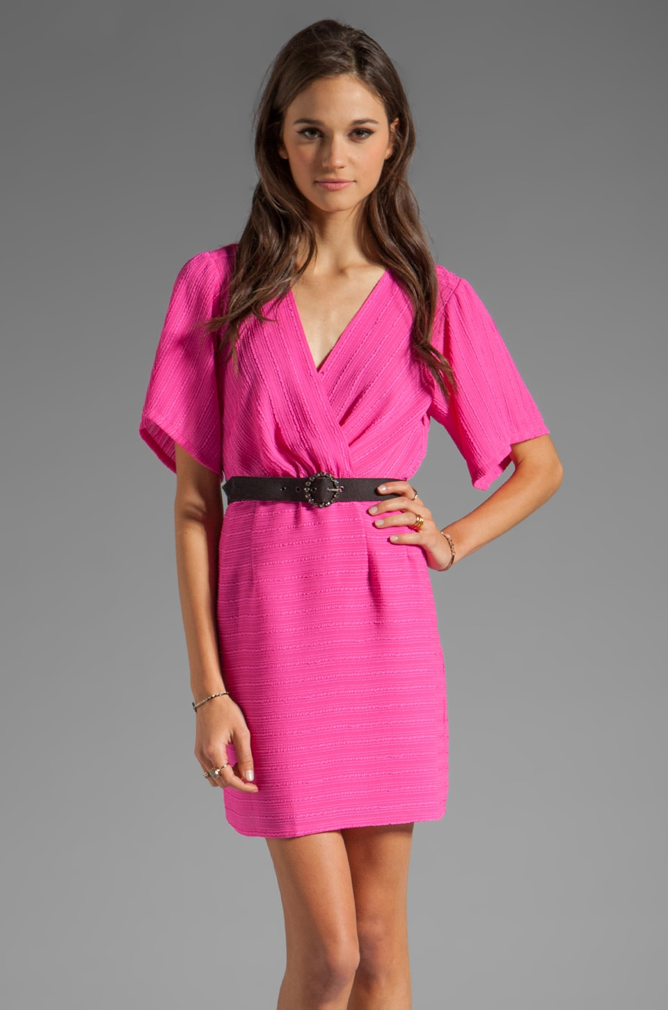 Nanette Lepore Geisha Girl Stripe Dress in Electric Pink