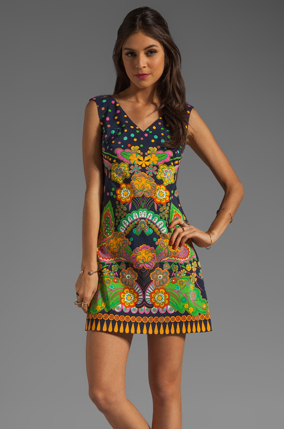 Nanette Lepore Sweet Jane Faille Dress in Navy Multi