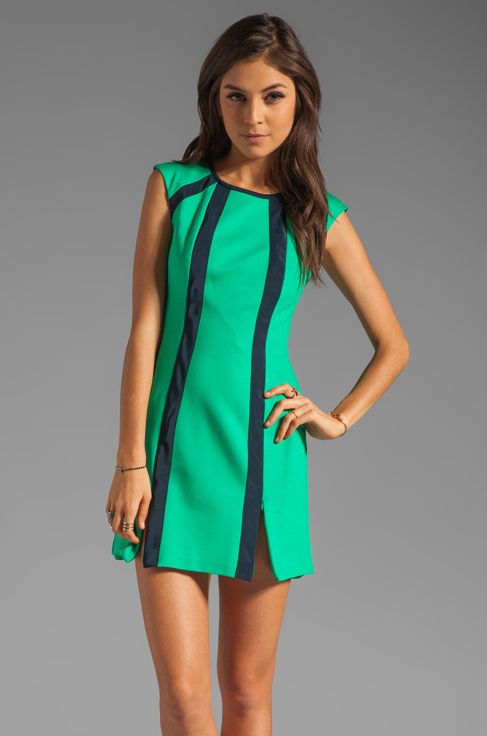 Nanette Lepore Underground Ponte Dress in Gumball Green/Navy