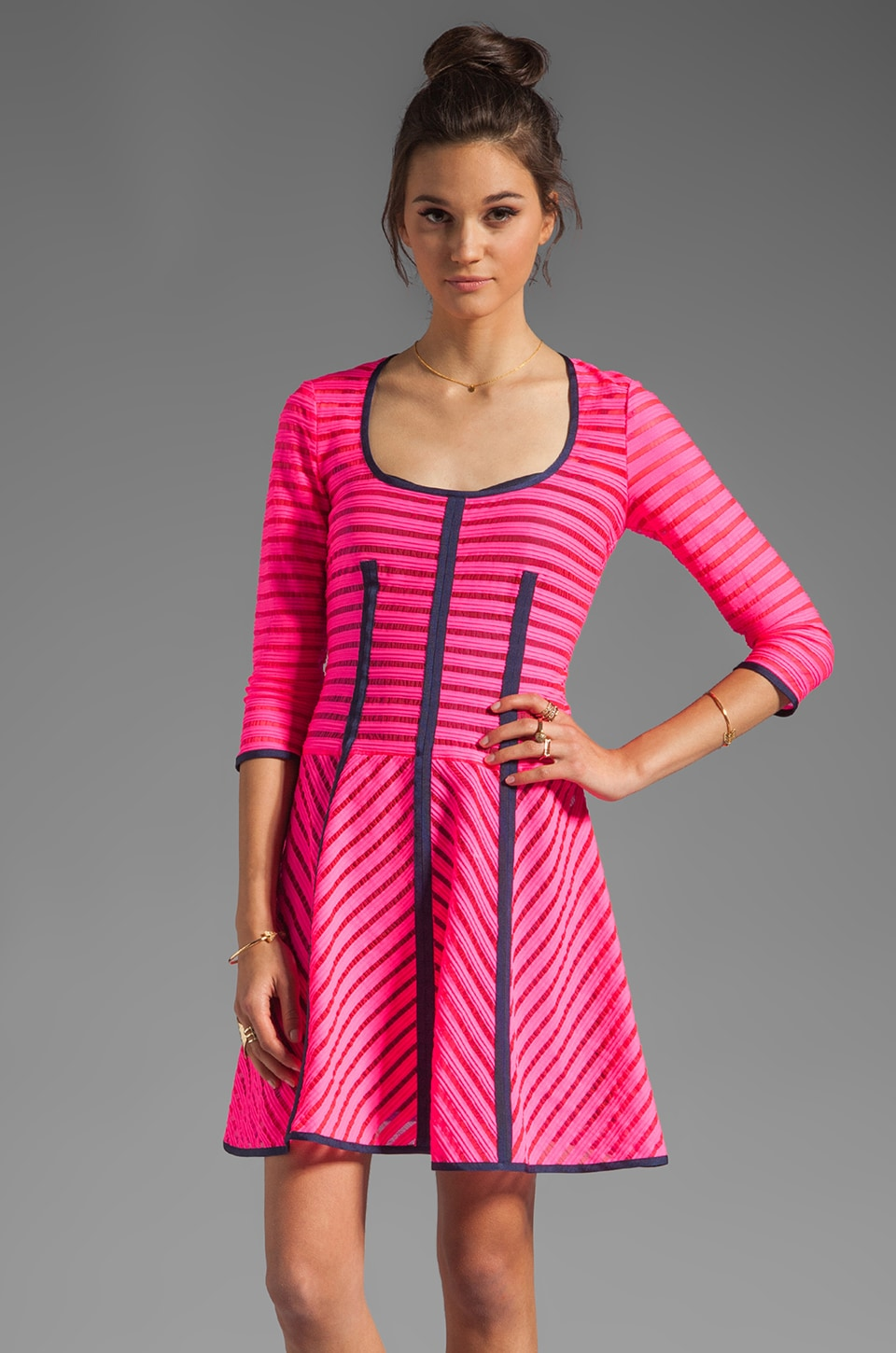 Nanette Lepore Auction Stripe 15 Minutes Dress in Shocking Pink