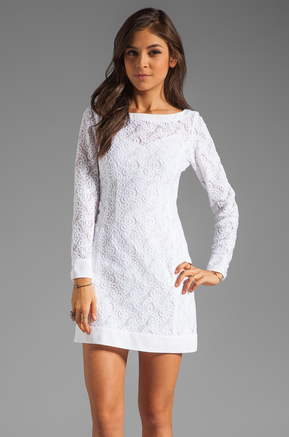 Nanette Lepore Beauty Lace Lithograph Dress in White