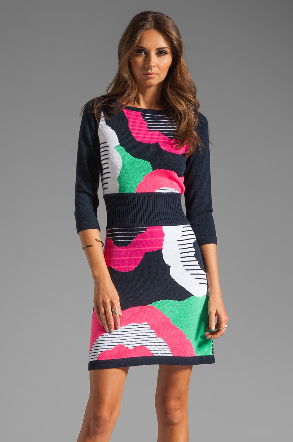 Nanette Lepore Cartoonist Knit Dress in Navy Multi