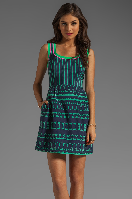 Nanette Lepore Optic Silk Campbell's Dress in Navy/Gumball Green