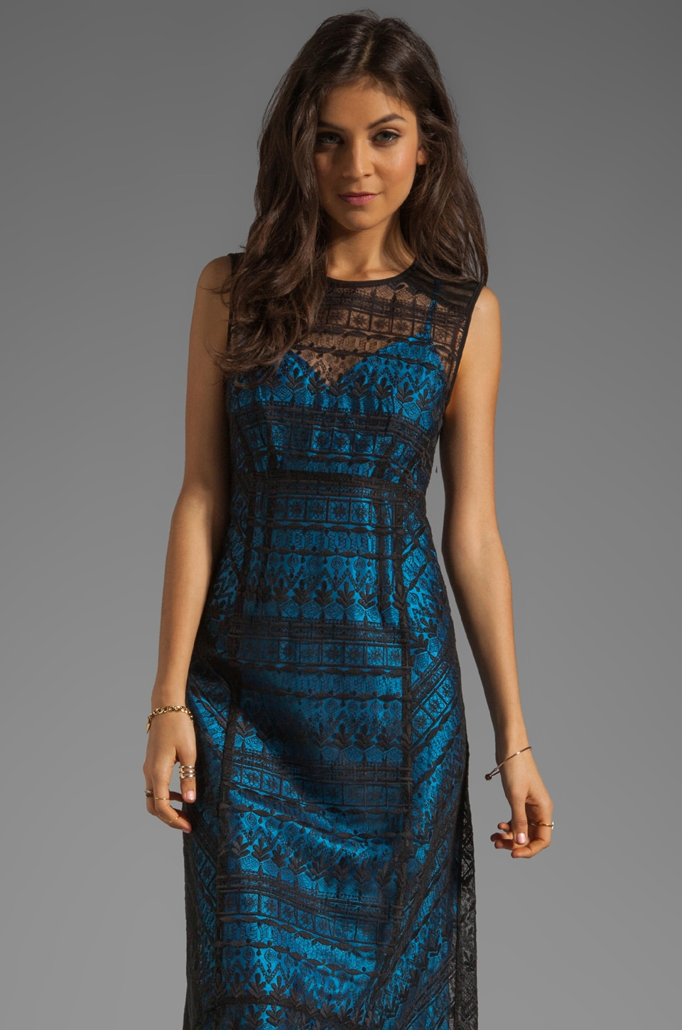 Nanette Lepore Appaloosa Laces Dress in Black and Blue Sky