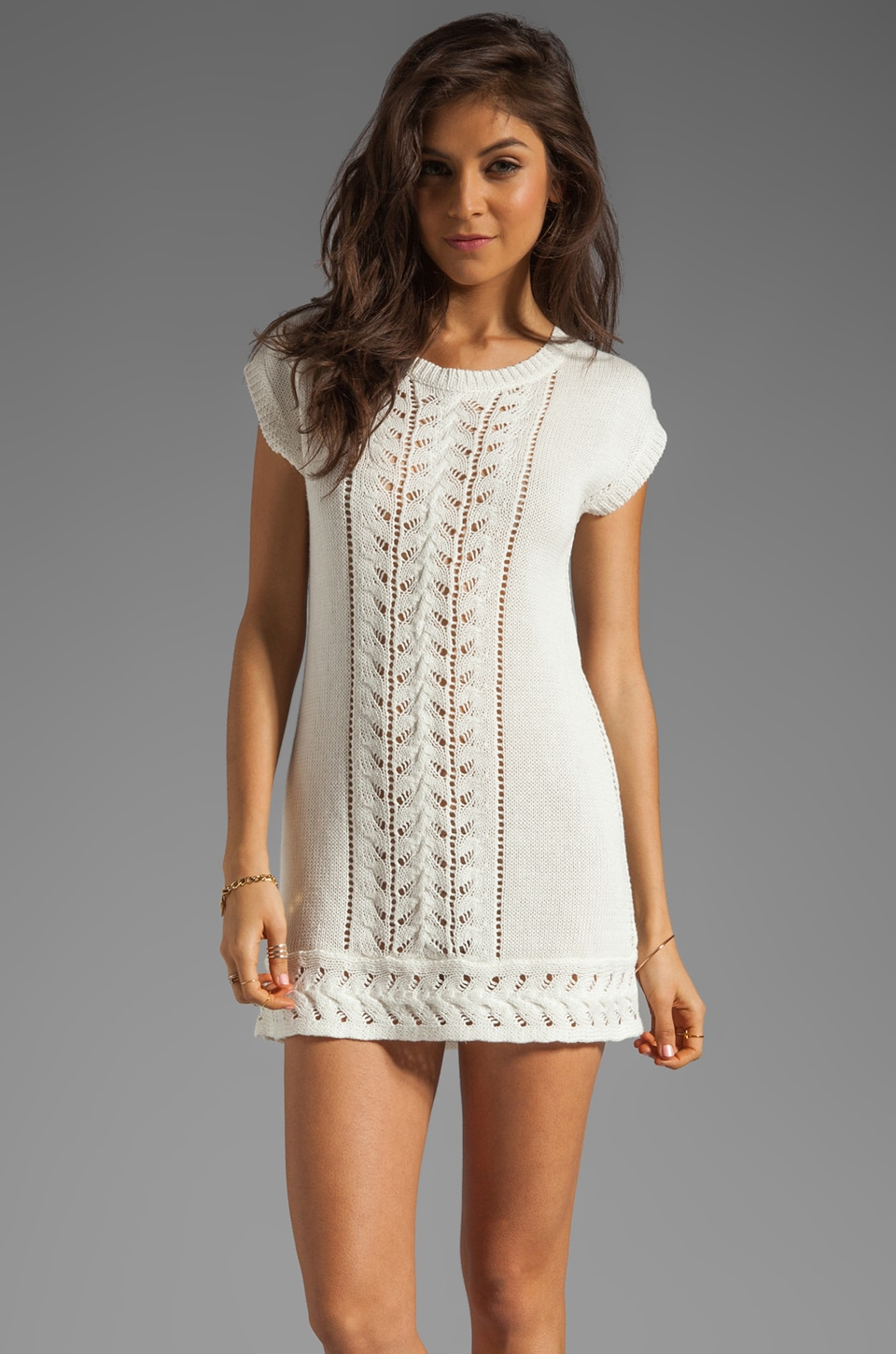 Nanette Lepore Tumbleweed Knit Riding Tunic in Ivory and Black