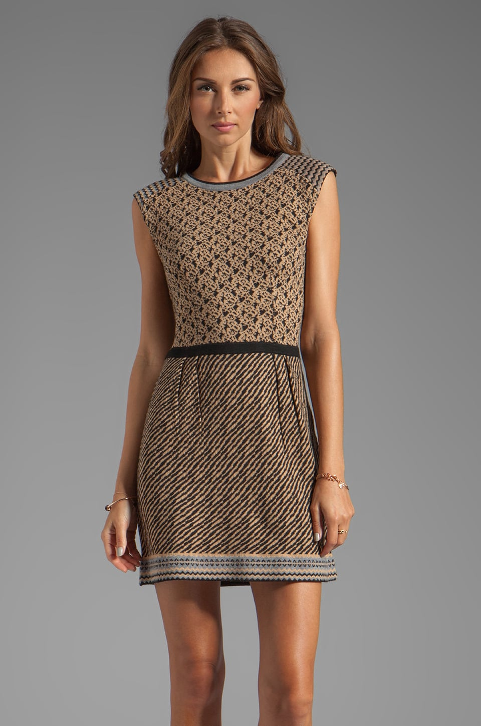 Nanette Lepore Meknes Knit Zanafi Dress in Camel Multi