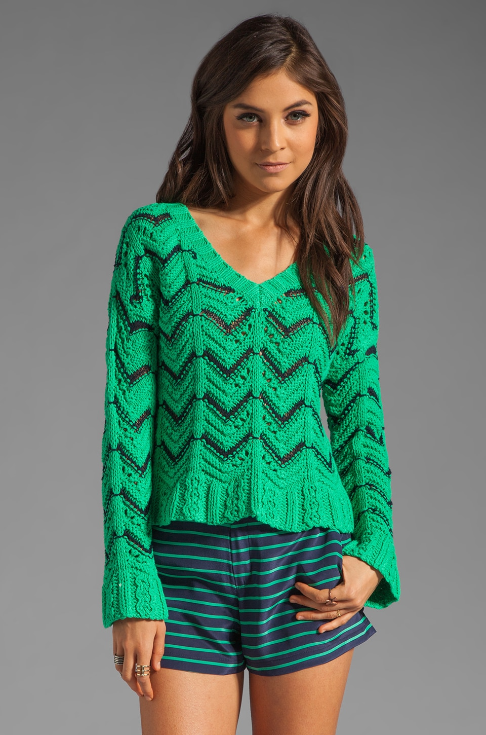 Nanette Lepore Exhibitioner Knit Sweater in Gumball Green/Navy
